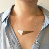 Model wearing Brass Triangle and Enamel Necklace - Red