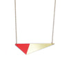 Brass Triangle and Enamel Necklace - Red