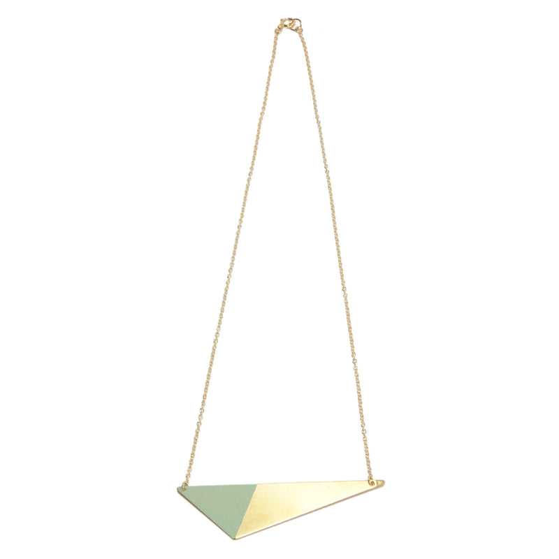 Brass Triangle and Enamel Necklace - Mint Closure