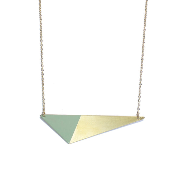 Brass Triangle and Enamel Necklace - Mint