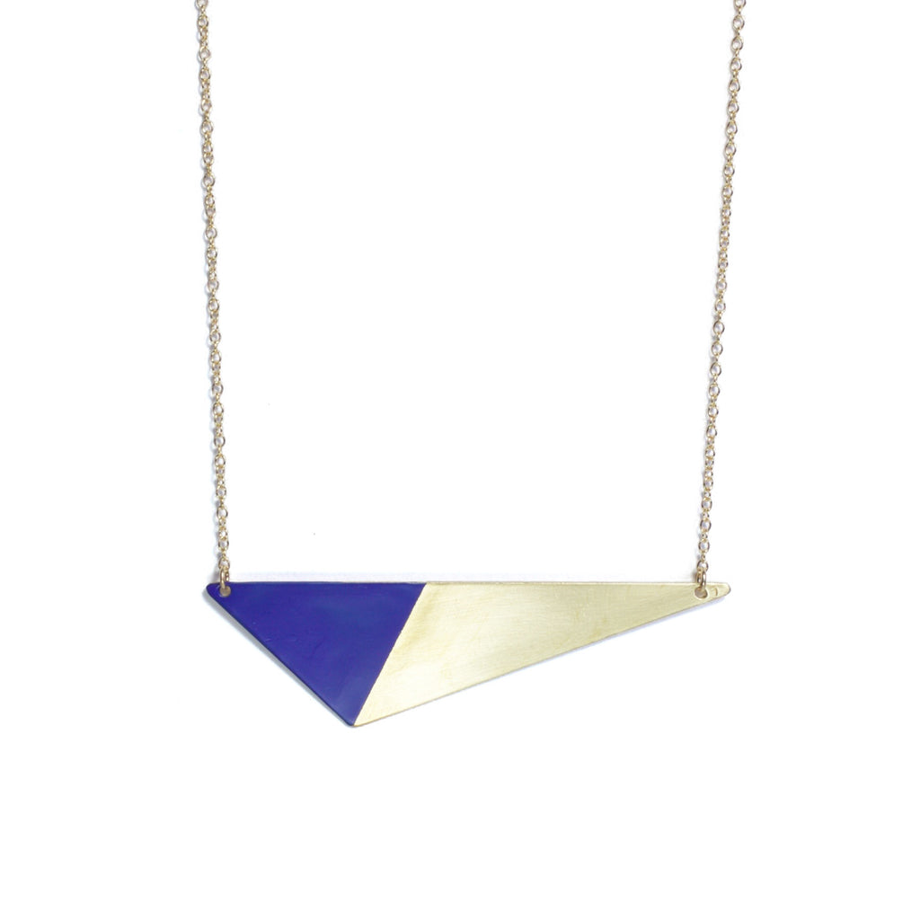 Brass Triangle and Enamel Necklace - Blue