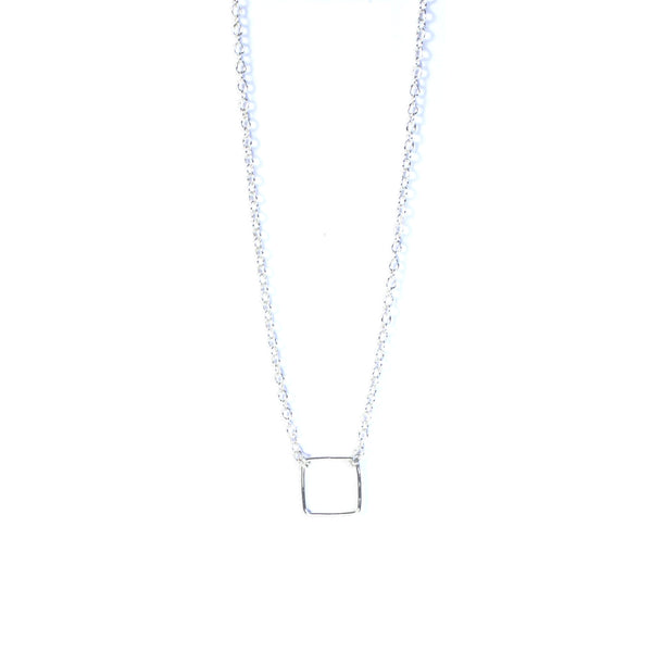 Silver Geometry Square Necklace