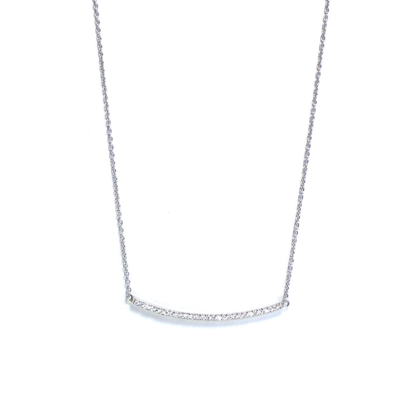 Pave Curved Bar Necklace