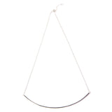 Silver Long Curved Bar Necklace Closure