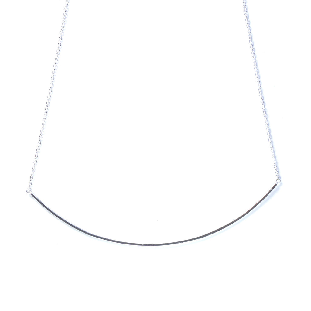 Silver Long Curved Bar Necklace