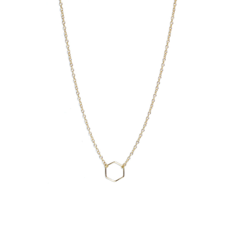 Gold Geometry Hexagon Necklace