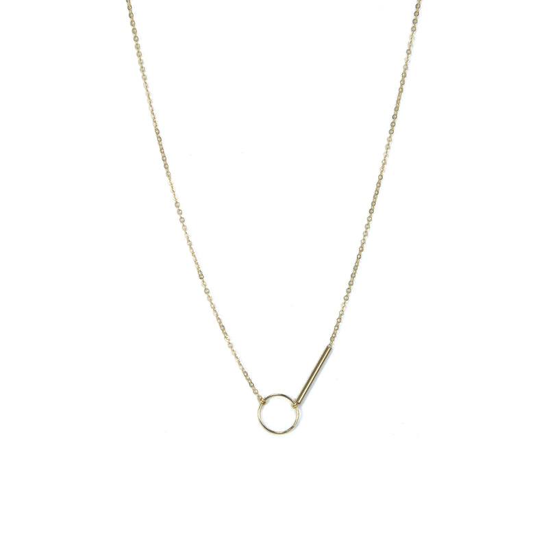 Gold Filled Circle and Bar Necklace