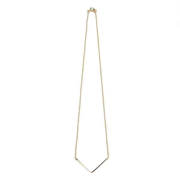 V shape Yellow Gold Wire Necklace Closure