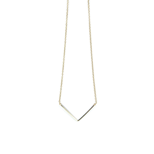 V shape Yellow Gold Wire Necklace