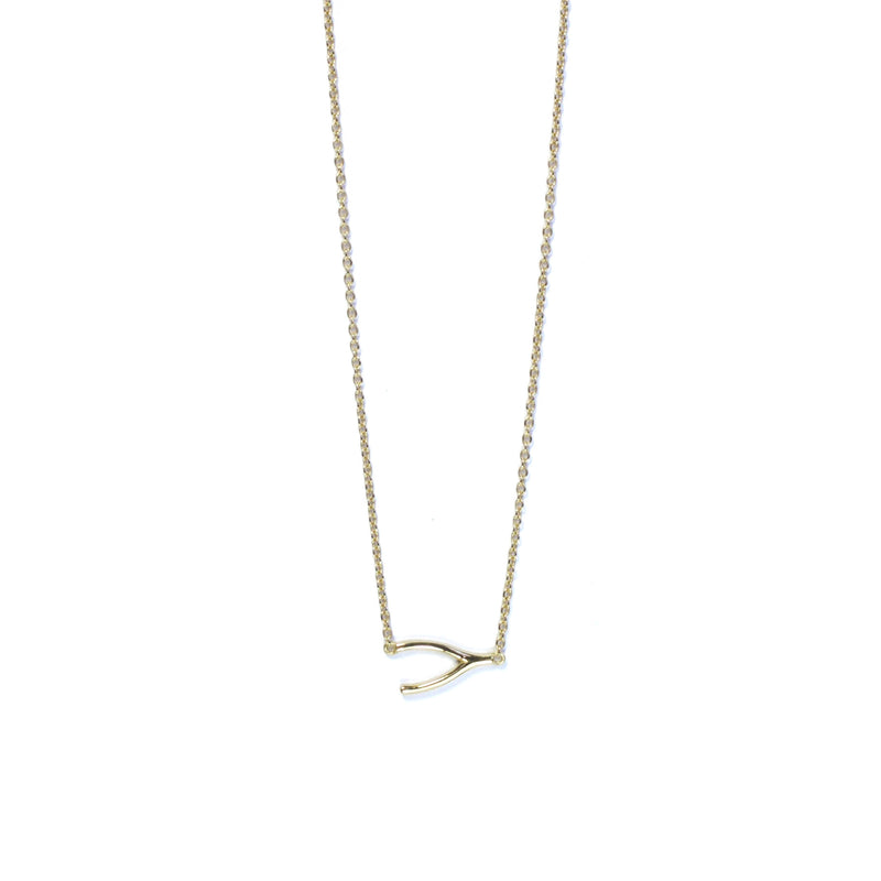 Yellow Gold Wishbone Necklace