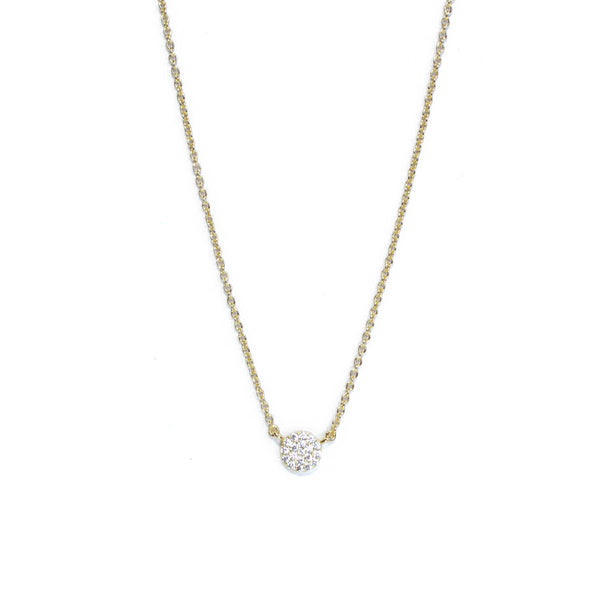 Gold Small CZ disk clear Necklace