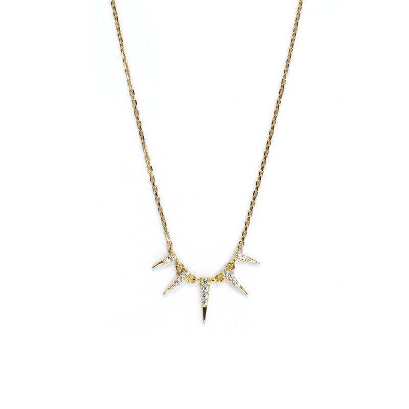 Gold CZ triangle lariat Necklace