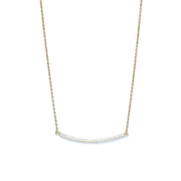 Yellow Gold CZ Curved Bar Necklace