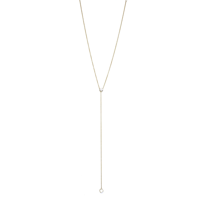One CZ Lariat Yellow Gold Necklace