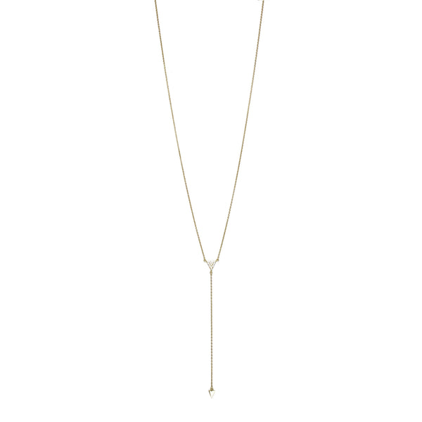 CZ Triangle Lariat Yellow Gold Necklace