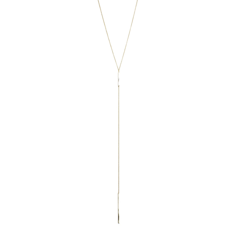Bar Lariat Yellow Gold Necklace