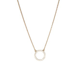 Small CZ Circle Yellow Gold Necklace