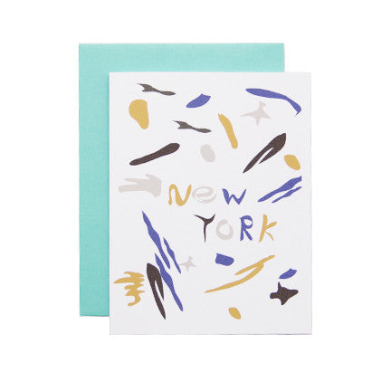 Postcard with Abstract Artwork with text New York