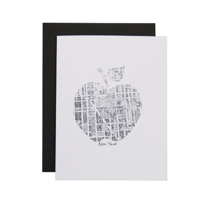 Postcard with an artwork of New York City map in the shape of an apple