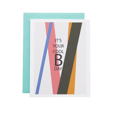 Postcard with an abstract artwork with a copy that reads 'It's your cool birthday'