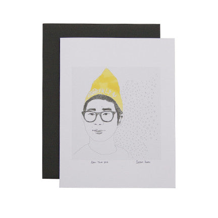 Yellow Beanie Brooklyn Card