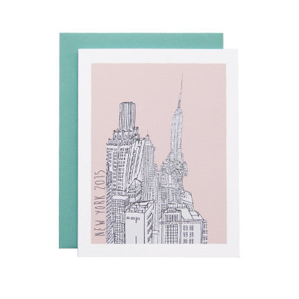 Postcard with New York City Buildings and Pink Background as Artwork