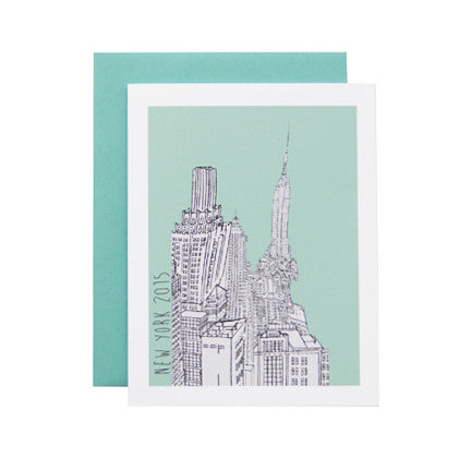 Postcard with New York City Buildings and Mint Background as Artwork