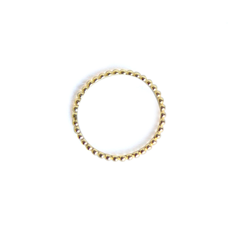 Yellow gold bubble ring at an alternate angle