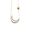 CZ Large Moon&Star Necklace | Gold