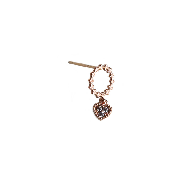 Heart drop earring | 14K Rose Gold