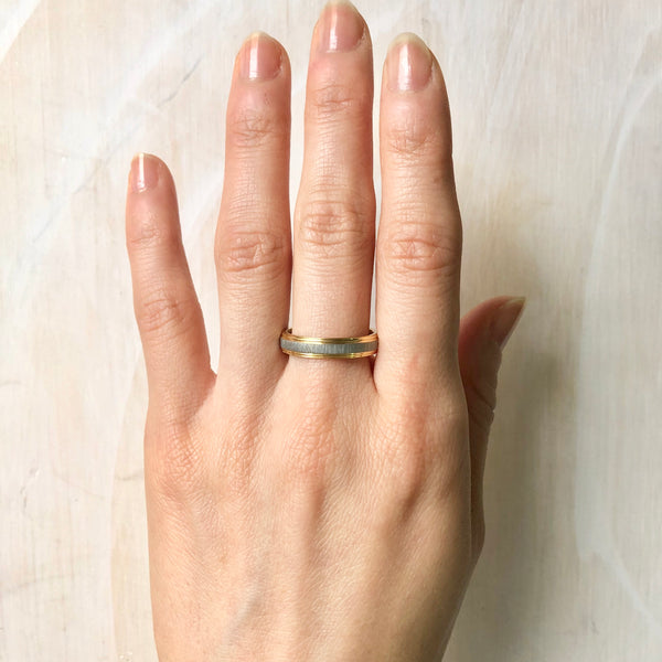 Brushed Texture on Gold Band Ring