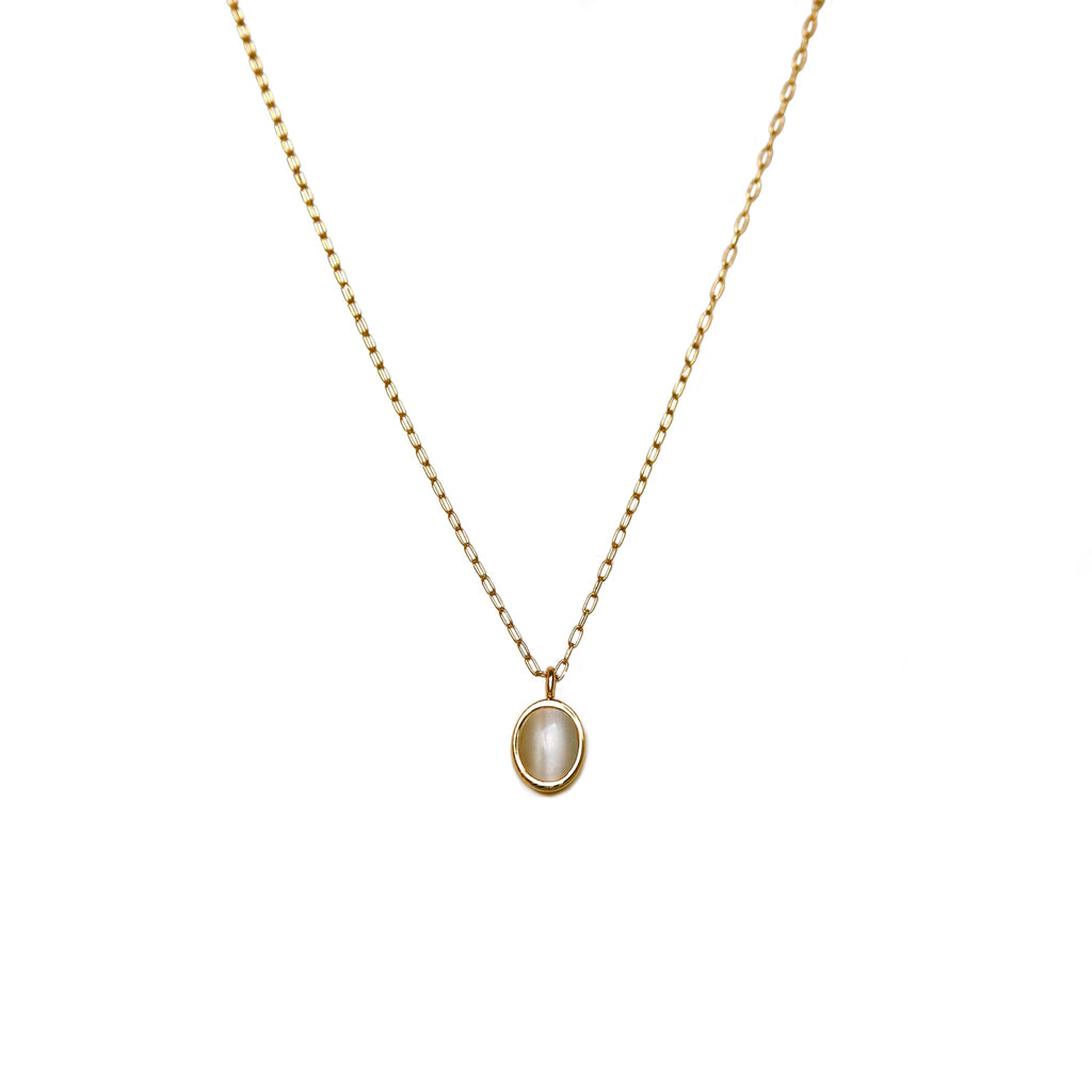 Oval Moonstone Necklace | Gold