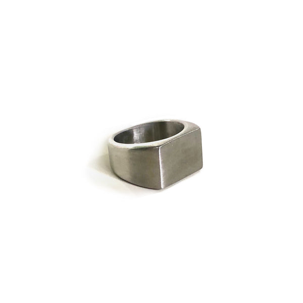 Brushed Square Signet Ring | Silver