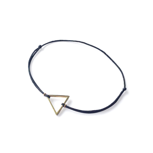Triangle Brass Charm | Navy