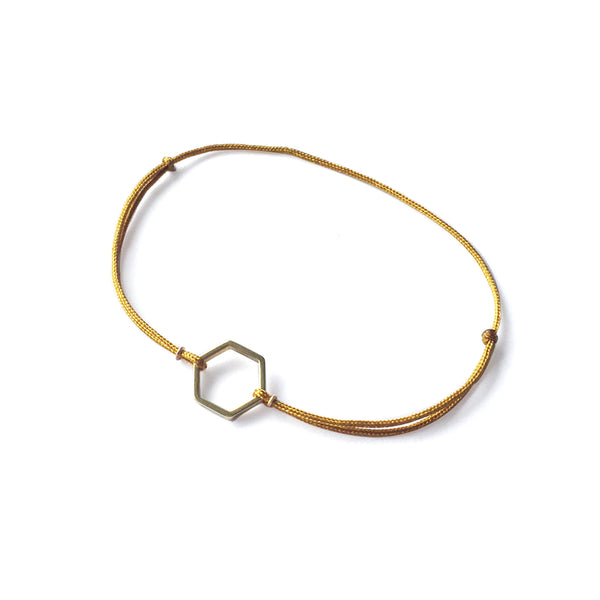 Hexagon Brass Bracelet | Tan