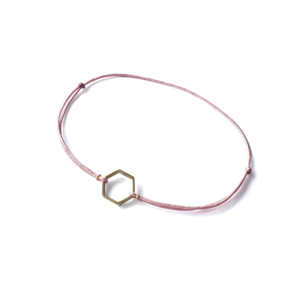 Hexagon Brass Bracelet | Pink
