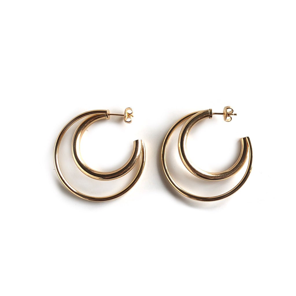 Double Hoop Studs | Gold