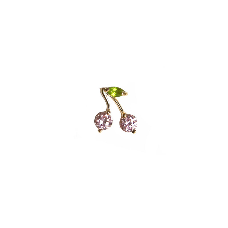 Pink Cherry Stud | 14K Gold
