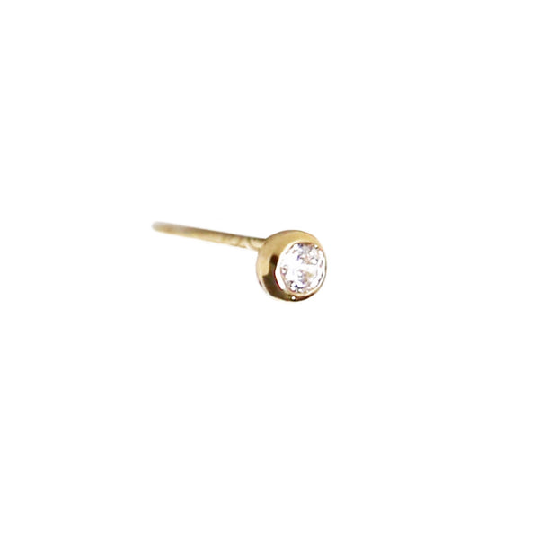Tiny Diamond Stud | 14K Gold