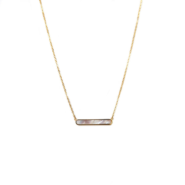 Mother of Pearl Bar Necklace | Gold