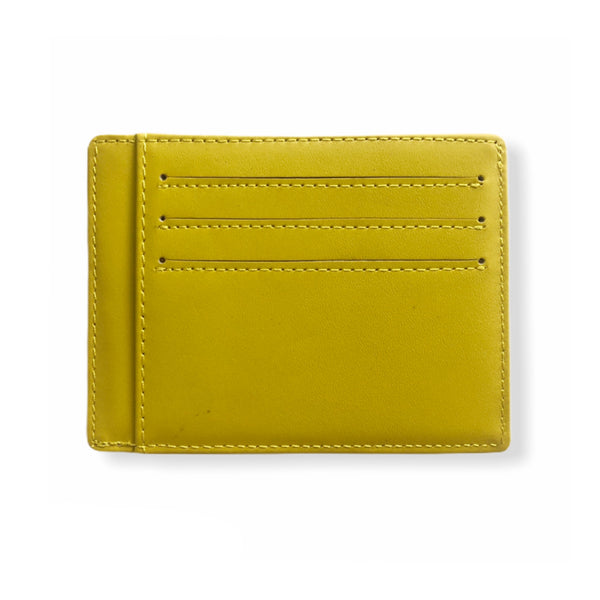 Leather Card Wallet | Neon Yellow