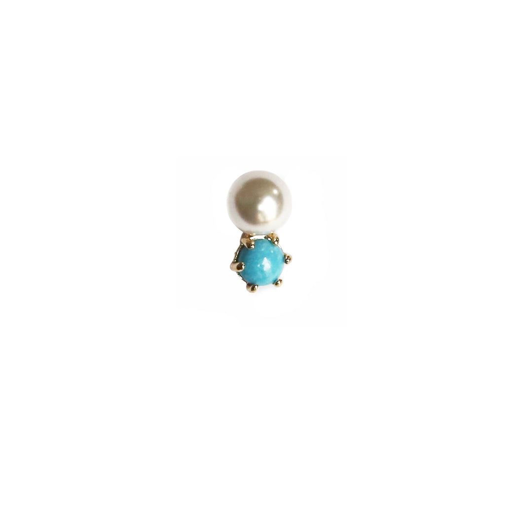 Pearl & Turquoise Stud | 14K Gold