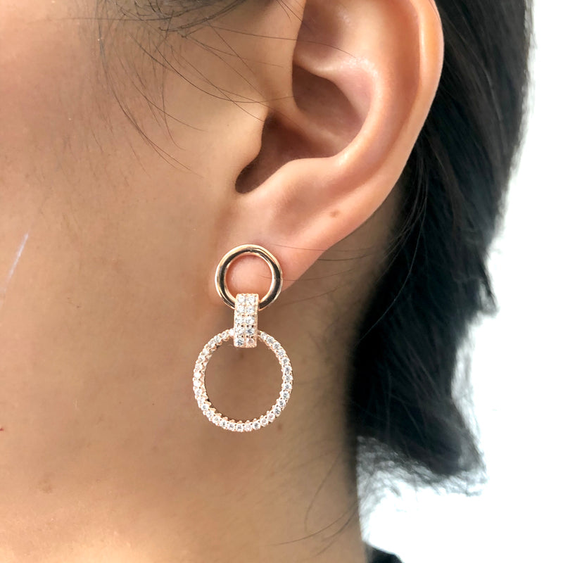 Pave Double Circle Earrings