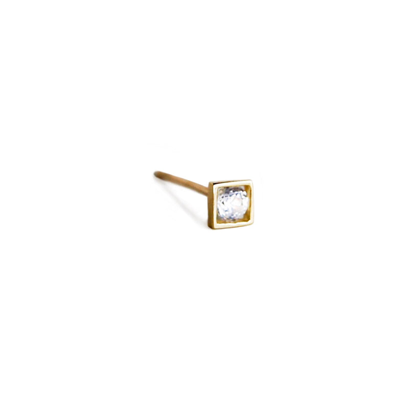 Square Crystal Stud | 14K Gold