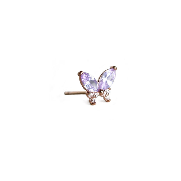 Lilac Butterfly Stud | 14K Rose Gold