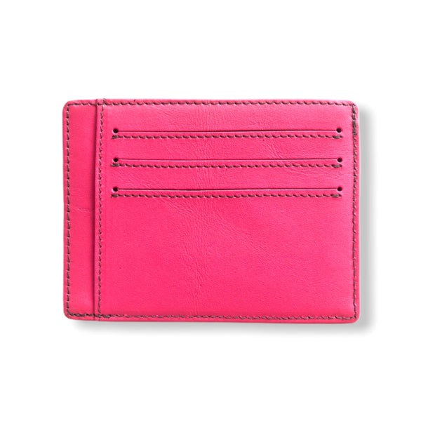 Leather Card Wallet | Neon Pink
