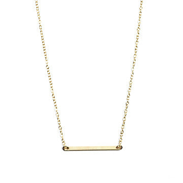 Dainty Flat Bar Necklace | 14K Gold Filled