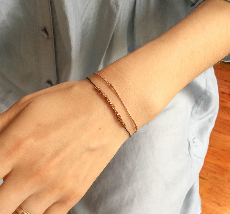 Copper Beaded Bracelet | Black, Rose Gold