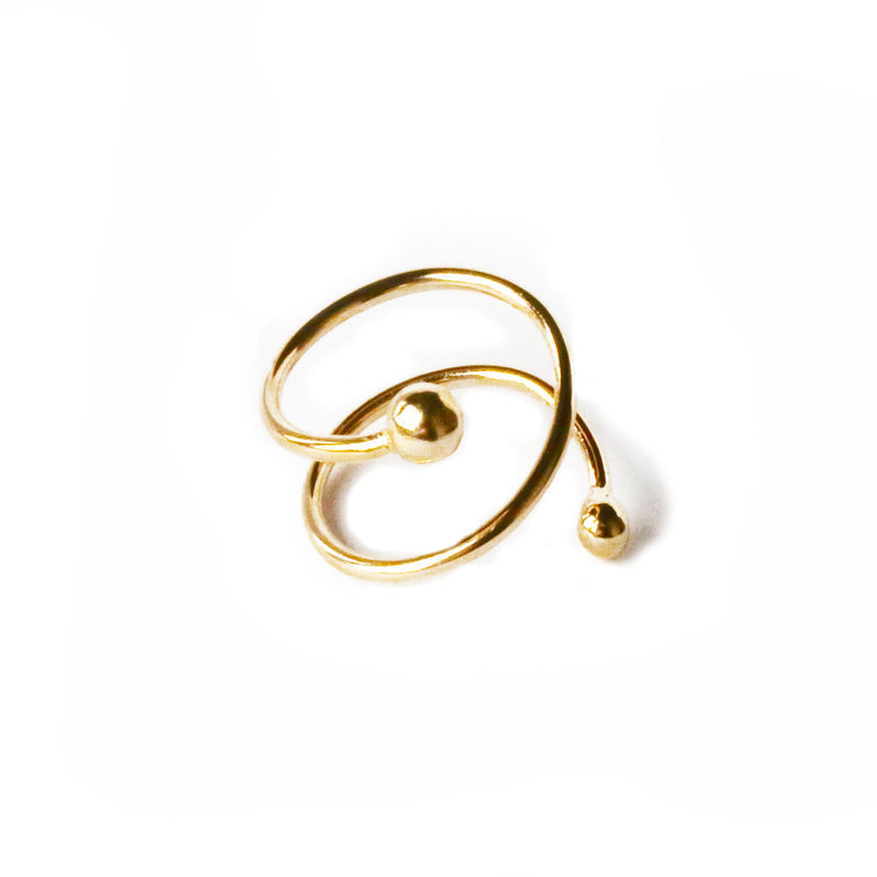 Double Ball Spiral Ring