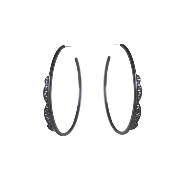Black Lace hoop Earrings